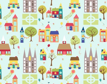 Little Town Fabric - Temple Town Main Fabric By Hang A Ribbon On The Moon - Little Village Decor Cotton Fabric By The Yard With Spoonflower
