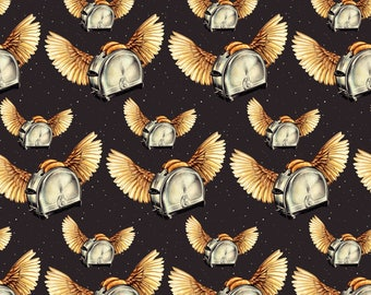 Retro Kitsch Hipster Flying Toaster Fabric - Flying Toasters By Kellygilleran - Novelty Toast Cotton Fabric By The Yard With Spoonflower