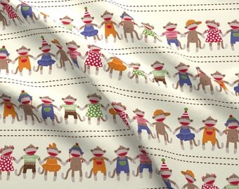 Sock Monkey Fabric - Sock Monkey Manners Stripe By Bzbdesigner - Kids Animal Nursery Cute Monkeys Cotton Fabric by the Yard with Spoonflower