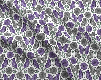 Purple Butterfly Damask Fabric - Butterfly Fields Damask (Purple) By Robyriker - Butterfly Cotton Fabric By The Yard With Spoonflower