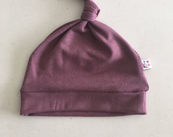 Dusty Aubergine Bamboo Beanie Knot Hat 4 sizes