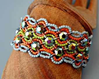 Honeycomb Micro Macrame Cuff Bracelet - Retro Style - Green, Orange and Blue/Gray Cuff - Beaded Cuff Bracelet - Original Design