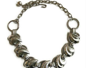 Modernist Bib Necklace Vintage Silver Tone Chunky Waves Style