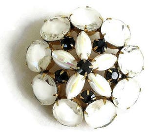 Vintage JULIANA style White Givre Cut Glass Brooch with White, Yellow and Pink Givre Rhinestones & Black Accents