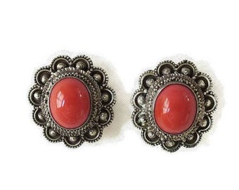 SALE Coral Cabochon Earrings Vintage Etruscan Style Lucite