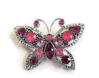 SALE Pink & Fuchsia Rhinestone Butterfly Brooch Vintage