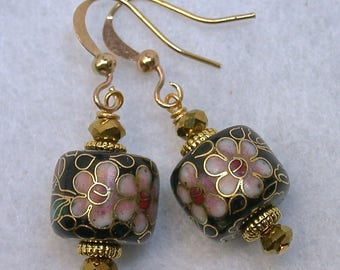 Vintage Chinese Cloisonne Pink Black Bead Dangle Earrings, Vintage Gold Crystal beads,gold french ear wires- GIFT WRAPPED