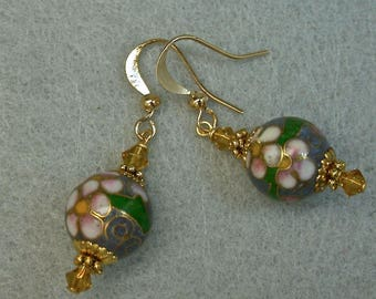 Vintage Chinese Cloisonne Bead Earrings Dangle RARE blue pink white flower, Golden Yellow Crystal,Gold Ear Wires