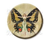 "20% OFF - Pocket Mirror, Magnet or Pinback Button - Wedding Favors, Party themes - 2.25""- Vintage Retro Butterfly MR353"