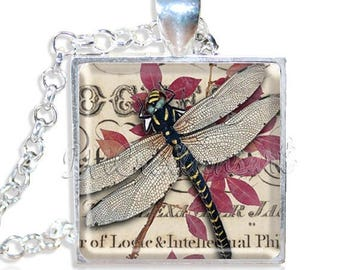"20% OFF - Dragonfly on Foliage 1"" Square Glass Pendant or with Necklace - SQ128"