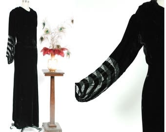 RESERVED ON LAYAWAY Vintage 1930s Dress - Exquisite 30s Gothic Black Rayon Velvet Long Evening Gown with Elegant Crescrent Stripes Sheer Dra