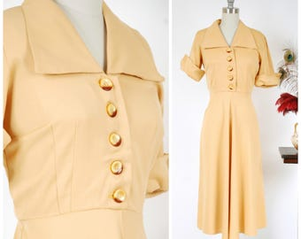 Vintage 1940s Dress - Delightful Golden Yellow Gabardine Shirtwaist 40s Day Dress with Wide Collar and Bold Cuffed Sleeves