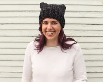 Hand knit cat hat