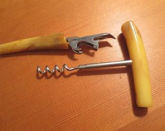 Vtg Bakelite Handle Corkscrew & Bottle Opener / Mancave Barware / Retro Barware / Traveling Bar replacement pieces
