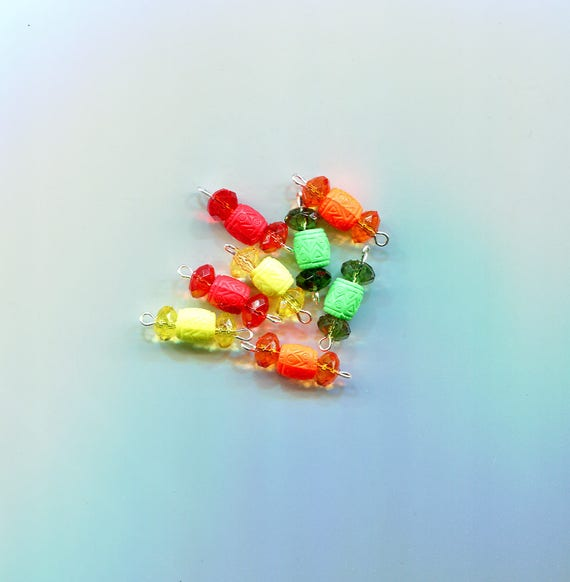crystal drops charms barrel bead pendants acrylic plastic beads 8 piece jewelry beading stitch markers supplies lot