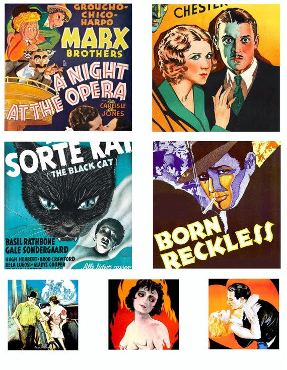 "vintage movie theater posters clip art digital download clipart collage sheet graphics 3.8"" inch squares printable vintage art images"
