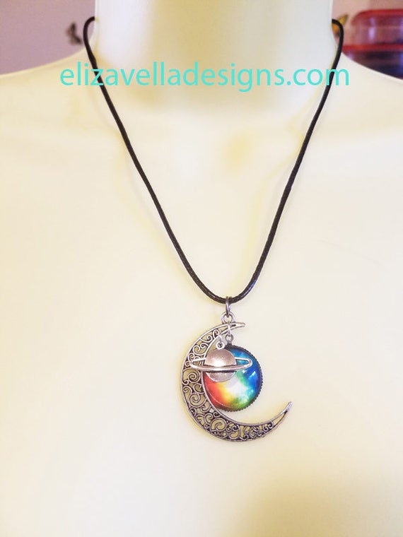Half moon saturn PENDANT NECKLACE black cord celestial planet space jewelry