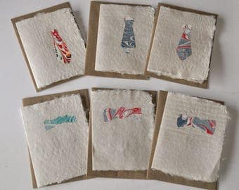 Manly Cards with hand made paper and marbled neck ties or bow ties 6-17