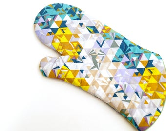 Blue and Yellow Oven Mitt in Quilted Modern Triangle Fabric