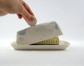 White and Blue Butter dish
