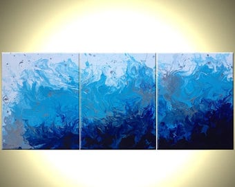 "Original Blue Silver and White Painting, Abstract Blue Drip Technique Painting, Fine Art On Sale by Lafferty, CRASHING OCEAN WAVES - 14""x33"""