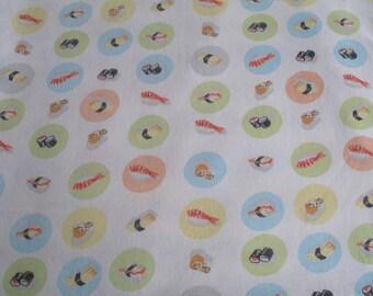 RARE. Munki munki  cotton poplin Sushi fabric