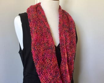 cherry pink infinity scarf, cowl, capelet, multicolored, handknit