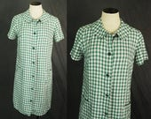 vintage 60s Dress - 1960s Green Gingham Shift Dress Shirt Dress Tent Dress Sz M