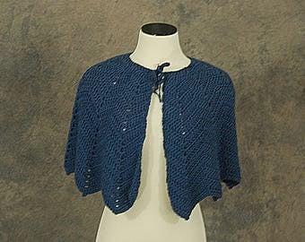 vintage 70s Hand Knit Capelet - 1970s Navy Blue Crochet Shawl Wrap Cape Sz S M L