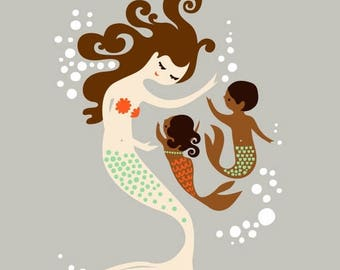 "SUMMER SALE 8X10"" mermaid mother with baby girl and boy. giclee print on fine art paper. taupe, brunette, chocolate skin."