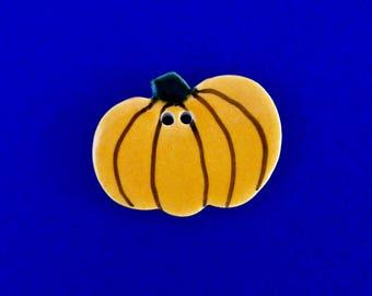 Orange Halloween Pumpkin Ceramic Button  2 Hole New