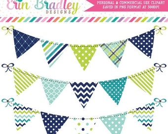80% OFF SALE Blue Green & Teal Clipart Bunting Graphics Commercial Use Banner Flag Clip Art Polka Dots Chevron Stripes Diamond Patterns