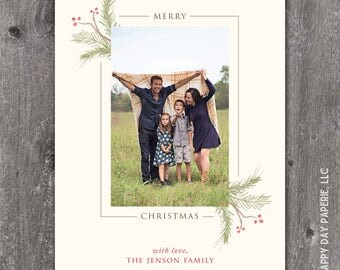 Watercolor Swags - Digital or Printed Custom Christmas Holiday Photo Card