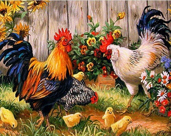 "ROOSTERS in the GARDEN 19"" x 15"" Diamond Painting Embroidery Kit 5D Diamond Embroidery Needlework Paint With Diamonds Resin Beads Diamond"