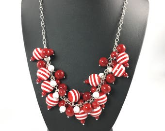 Chunky Cluster Necklace, Bead Necklace, Statement Necklace, Red White Candy Stripe Beads, Bold Jewelry
