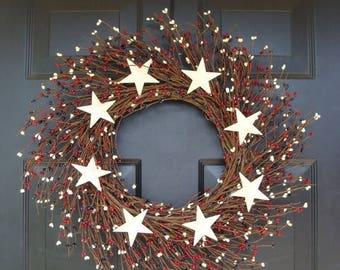 SUMMER WREATH SALE Berry Wreath, Patriotic Wreath, Stars and Stripes Americana Wreath, Memorial Day Wreath, Rustic Berry Wreath, Red White a
