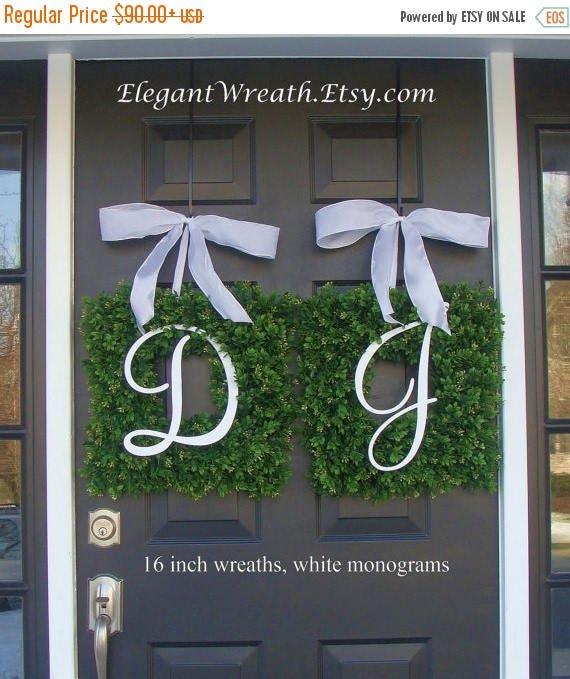 SUMMER WREATH SALE Monogram Boxwood Wreath, Monogram Wedding Wreath, Spring Wreath,  Housewarming Gift, Wedding Wreath, Summer Wreaths Thin