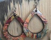 Teardrop reclaimed skateboard earrings