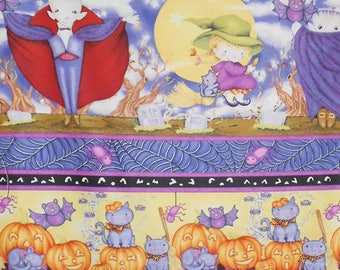 Halloween Fabric, Happy Haunting Cotton Multi Stripe by Avlyn