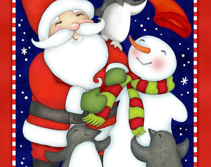 NORTH POLE GREETINGS, Christmas Flannel Panel by Studio E 23 x 42 inches