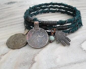 Silk Road 3 Piece Bangle Stack, Silk Wrapped, Stacking Bracelets, Tribal Gypsy Jewelry, Dark Green