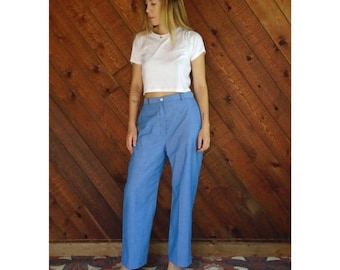 15% Memorial Day Wknd ... High Waist Chambray Woven Trouser Pants - Vintage 70s - M/L Petite