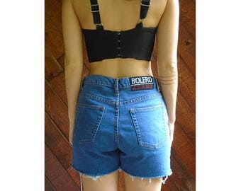 20% off SUMMER SALE. . . High Waist Denim Cut Off Jean Shorts - Vintage 80s 90s - M