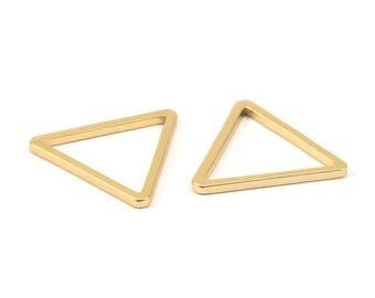 Triangle Charm - 3 Gold Plated Brass Triangle Charms (28x2mm) D013 Q083