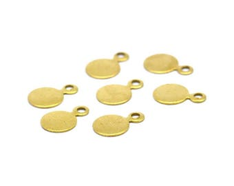 Geometric Blank Charms, 100 Raw Brass Cabochon Tags, Stamping Tags (6mm) Brs 88 A0217