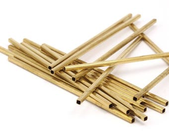Spacer Brass Bead, 25 Raw Brass Square Tubes (3x70mm) Bs 1615