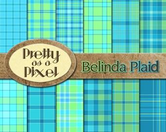 Printable Scrapbook Paper - Belinda Plaid - 12 x 12 - Set of 12 - INSTANT DOWNLOAD