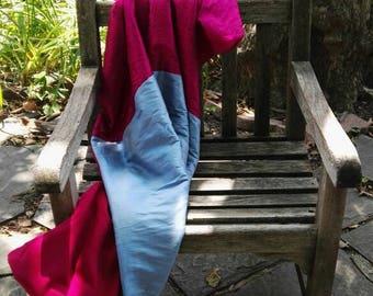 VIVACIOUS silk & wool throw or wrap in fuchsia and light blue