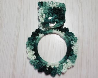 Towel Holder Crocheted Ring Variegated Shades of Green