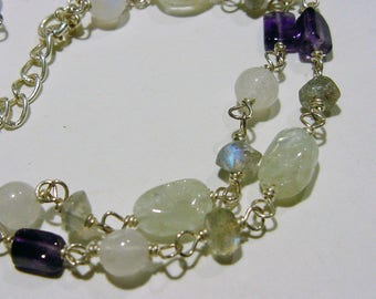 Multil Gemstone double strand Sterling wired Bracelet Amethyst Moonstone Labradorite Green Quartz 7tu234